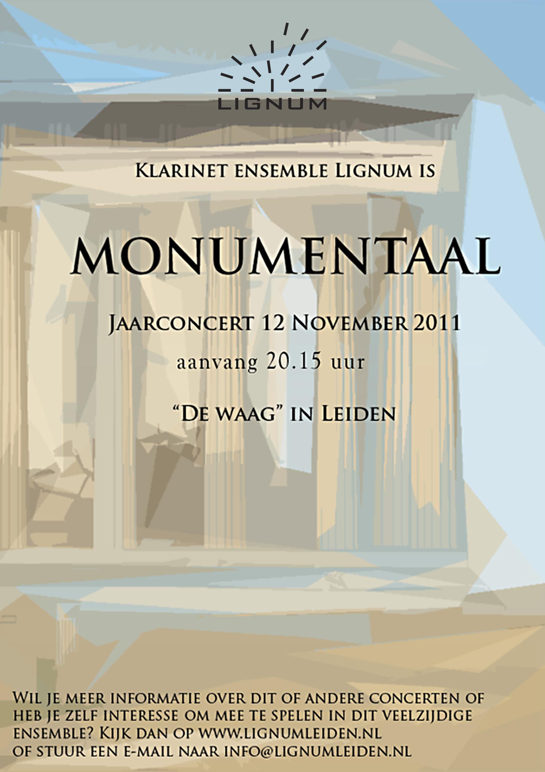 """Flyer jaarconcert 2011 """"Monumentaal"""""""