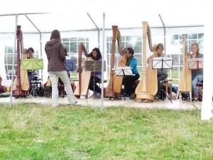 Het eveneens aanwezige harpensemble tijdens hun optreden.